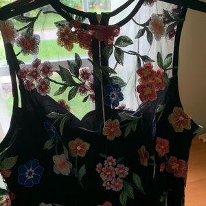 Black floral, sheer cocktail/dinner dress